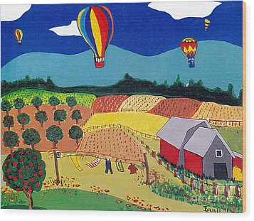 Wood Print featuring the painting Hot Air Balloons Over Farmland by Joyce Gebauer