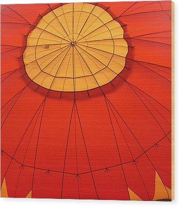 Hot Air Balloon At Dawn Wood Print by Art Block Collections