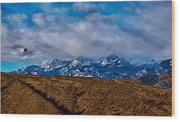 Hot Air Baloon Ride In The Methow Wood Print by Omaste Witkowski