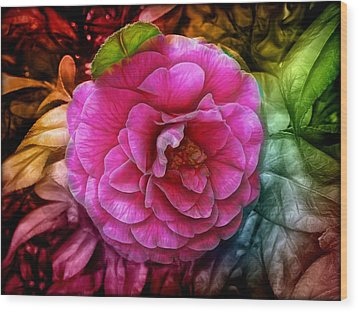 Hot And Silky Pink Rose Wood Print by Lilia D