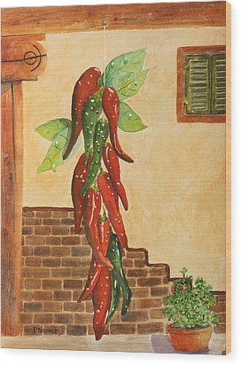 Hot Chili Peppers Wood Print by Patricia Novack