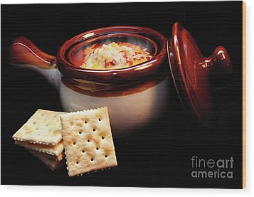 Hot Chili With Cheese And Crackers Wood Print by Andee Design