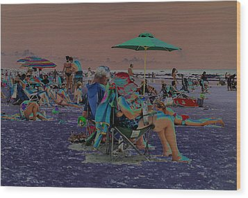 Hot Day At The Beach - Solarized Wood Print by Suzanne Gaff