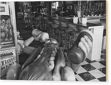 Hot Dog Man Down Mono Wood Print by John Rizzuto
