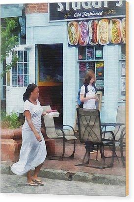 Hot Dog Shop Fells Point Wood Print by Susan Savad