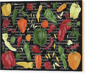 Hot For Chilis Wood Print