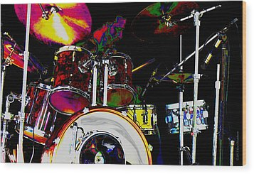 Hot Licks Drummer Wood Print by Kae Cheatham
