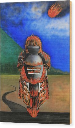 Hot Moto Wood Print