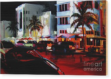 Hot Nights In South Beach - Oil Wood Print by Michael Swanson