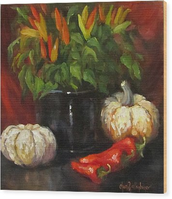 Wood Print featuring the painting Hot Peppers And Gourds by Cheri Wollenberg