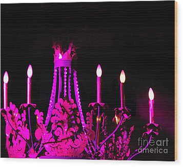 Hot Pink Chandelier Wood Print by Sonja Quintero