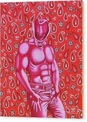 Hot Pink Cowboy Wood Print by Joseph Sonday