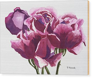 Hot Pink Roses Wood Print by Patricia Novack