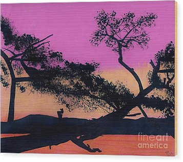 Wood Print featuring the drawing Hot Pink Sunset by D Hackett