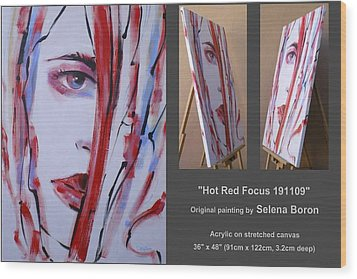 Wood Print featuring the painting Hot Red Focus 191109 by Selena Boron