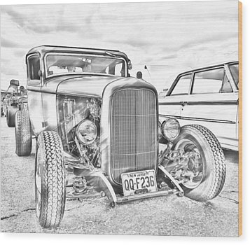 Hot Rod Faux Sketch Wood Print