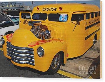 Hot Rod School Bus Wood Print
