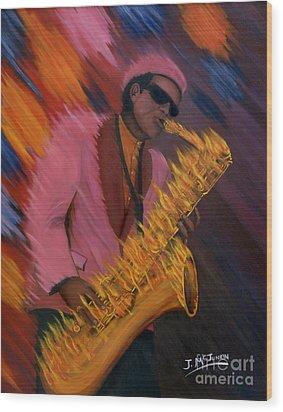 Hot Sax Wood Print by Jeff McJunkin