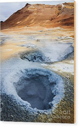 Wood Print featuring the photograph Hot Springs At Namaskard In Iceland by Peta Thames