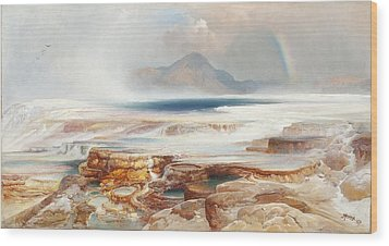 Hot Springs Of Yellowstone Wood Print by Thomas Moran