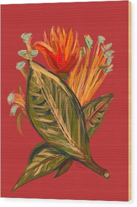Wood Print featuring the digital art Hot Tulip L by Christine Fournier