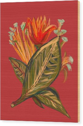 Wood Print featuring the digital art Hot Tulip R by Christine Fournier