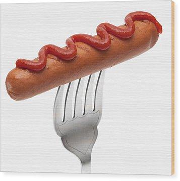 Hotdog Sausage On Fork Wood Print by Amanda Elwell