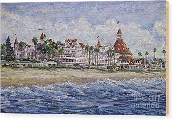 Hotel Del Beach Wood Print