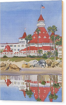 Hotel Del Coronado Reflected Wood Print by Mary Helmreich