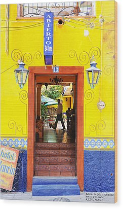 Wood Print featuring the photograph Hotel Estancia - Ajijic - Mexico by David Perry Lawrence