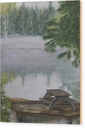 Wood Print featuring the painting Hotel Lake Resort In Bc by Kelly Mills