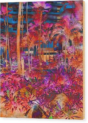 Hotel Lobby In Maui Wood Print by Connie Fox