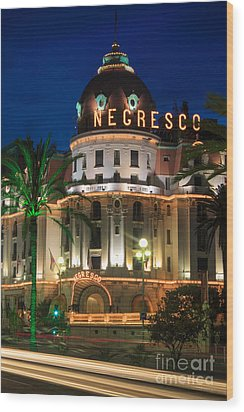 Hotel Negresco By Night Wood Print by Inge Johnsson