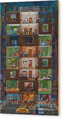 Wood Print featuring the painting Hotel Paradise by Igor Postash