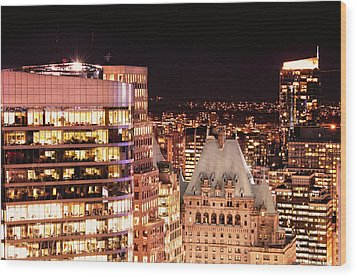 Wood Print featuring the photograph Hotel Vancouver And Wall Center Mdccv by Amyn Nasser