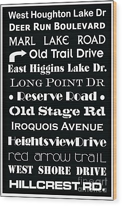 Houghton Higgins Subway Sign Wood Print by Desiree Paquette