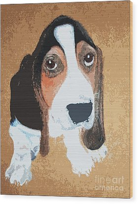 Hound Dog Wood Print by Rachel Barrett