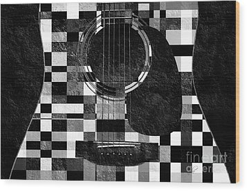 Hour Glass Guitar Random Bw Squares Wood Print by Andee Design