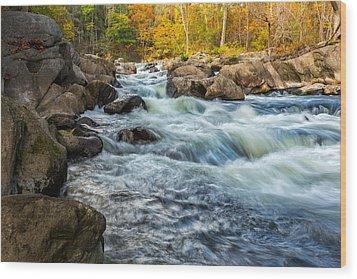 Housatonic River Autumn Wood Print by Bill Wakeley