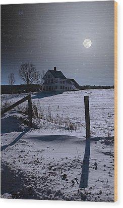 House At Night Wood Print