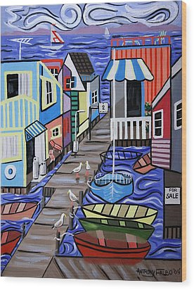 House Boats For Sale Wood Print by Anthony Falbo