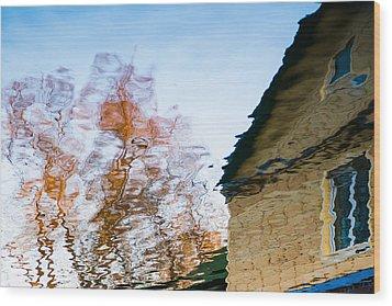 House By The Lake Wood Print by Alexander Senin