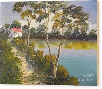 House By The Lake Wood Print by Pamela  Meredith