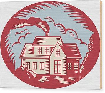House Homestead Cottage Woodcut Wood Print by Aloysius Patrimonio