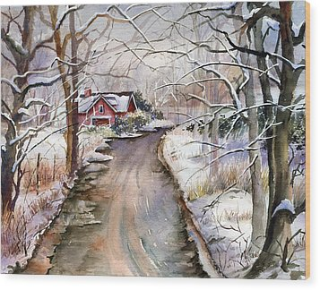 House In Snow Wood Print by Beth Kantor