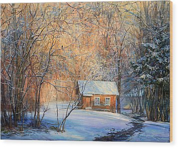 House In The Winter Forest  Wood Print