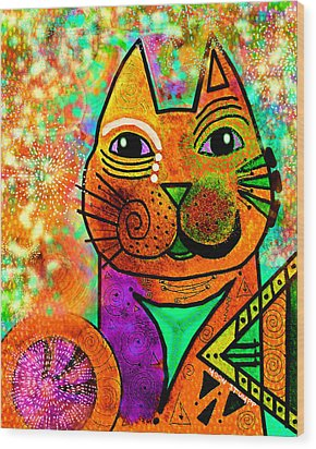 House Of Cats Series - Blinks Wood Print by Moon Stumpp