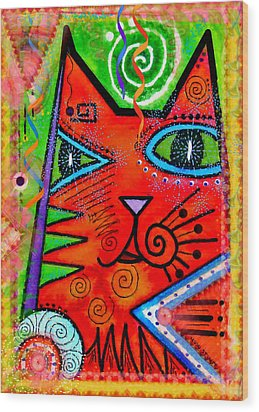 House Of Cats Series - Bops Wood Print by Moon Stumpp