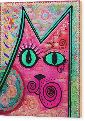 House Of Cats Series - Catty Wood Print by Moon Stumpp