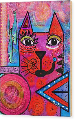 House Of Cats Series - Tally Wood Print by Moon Stumpp